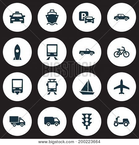 Transportation Icons Set. Collection Of Railway, Yacht, Van And Other Elements