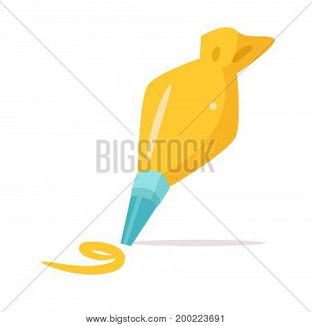 Pastry bag with the cream. Vector. Cartoon. Isolated art on white background. Flat
