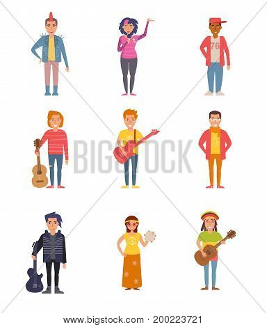 Set with people of different subcultures. Punk, emo, rap, grunge, rock, hipster, goth, hippie, rasta reggae Vector Cartoon Isolated art on white background Flat