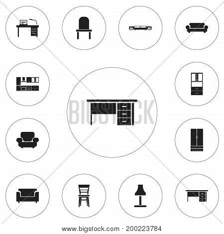 Set Of 12 Editable Interior Icons. Includes Symbols Such As Cooking Furnishings, Mattress, Canape And More