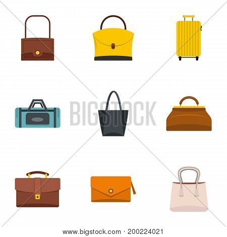 Various types of bags icon set. Flat style set of 9 various types of bags vector icons for web isolated on white background