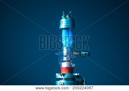 old incandescent lamp, vintage generator with clipping path rarity perspective on blue background