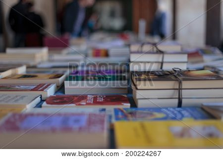 Book fair in Vitoria city celebrating book's day on april the 23th