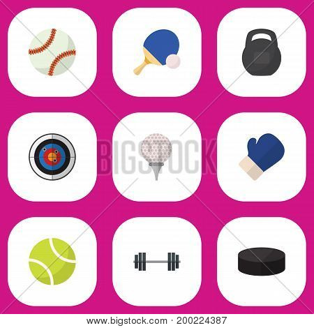 Set Of 9 Editable Fitness Flat Icons. Includes Symbols Such As Golf-Course, Washer, Darts And More