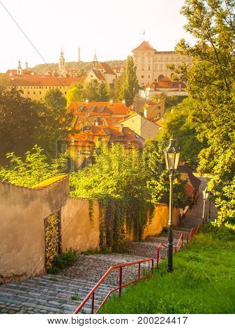 Old stairs leads to medieval district of Novy Svet, Hradcany, Prague, Czech Republic.