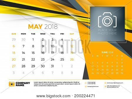 May 2018. Desk Calendar Design Template With Abstract Background. Place For Photo. Yellow And Black