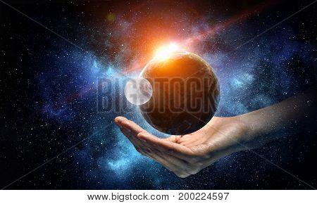 Whole world in hands. Mixed media . Mixed media