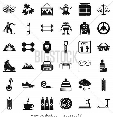 Children playing icons set. Simple style of 36 children playing vector icons for web isolated on white background