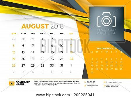 August 2018. Desk Calendar Design Template With Abstract Background. Place For Photo. Yellow And Bla