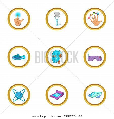Innovative device icon set. Cartoon style set of 9 innovative device vector icons for web isolated on white background