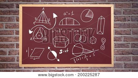 Digital composite of diagrams on blackboard