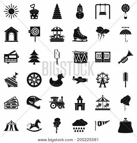 Children trumpet icons set. Simple style of 36 children trumpet vector icons for web isolated on white background
