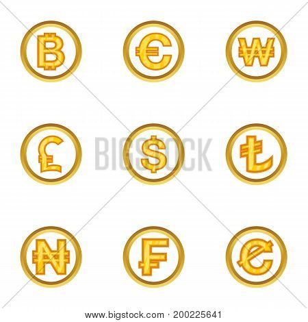 Money icon set. Cartoon style set of 9 money vector icons for web isolated on white background