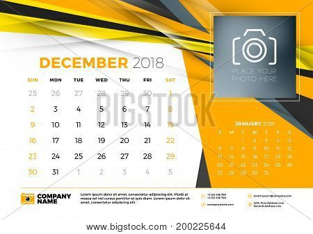 December 2018. Desk Calendar Design Template With Abstract Background. Place For Photo. Yellow And B