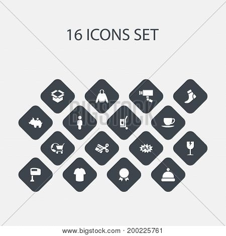 Set Of 16 Editable Trade Icons. Includes Symbols Such As Medal, Headgear, Freight Delivery And More