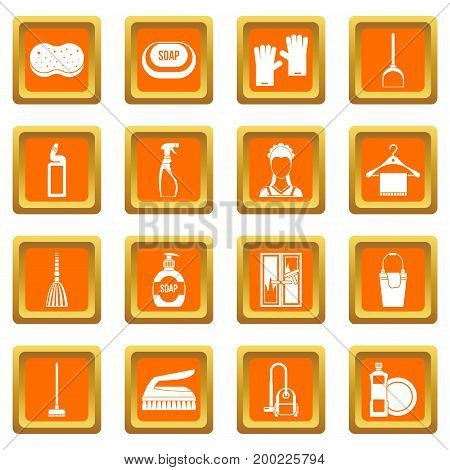 House cleaning icons set in orange color isolated vector illustration for web and any design