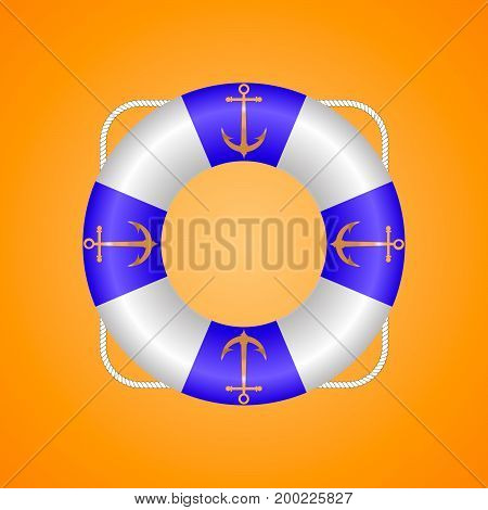 Lifebuoy of blue color with golden anchors and rope
