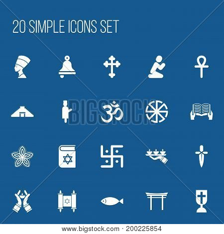 Set Of 20 Editable Dyne Icons. Includes Symbols Such As Solar Emblem, Pyramid, Bible And More