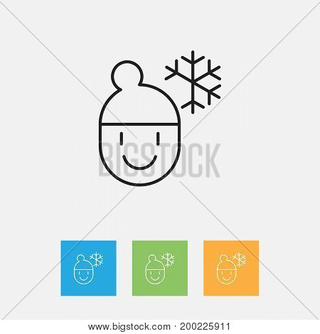 Vector Illustration Of Climate Symbol On Frosty Weather Outline