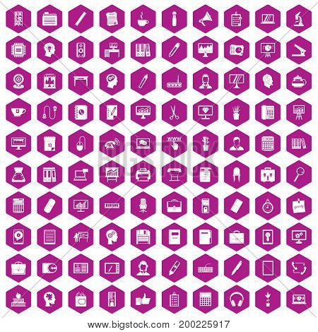 100 work space icons set in violet hexagon isolated vector illustration