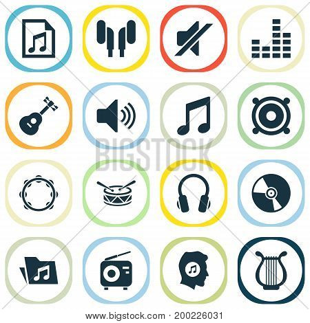 Multimedia Icons Set. Collection Of Equalizer, Instrument, Tuner And Other Elements