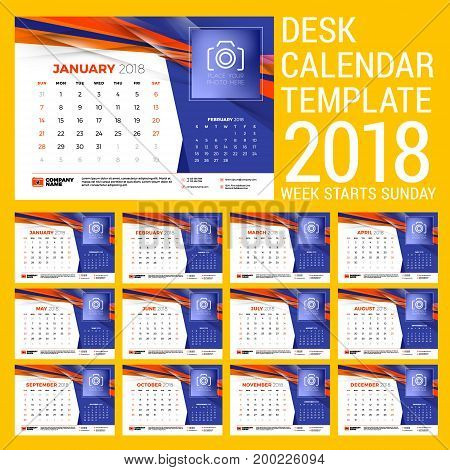 Calendar set for 2018 year. Design template with abstract background. Place for photo. Two months on the page. Week starts on Sunday. Vector Illustration