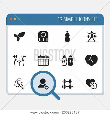 Set Of 12 Editable Exercise Icons. Includes Symbols Such As Hand Barbell, Energetic Beverage, Training