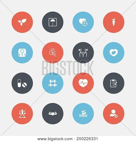 Set Of 16 Editable Lifestyle Icons. Includes Symbols Such As Pill, Leaf In Heart, Plant And More