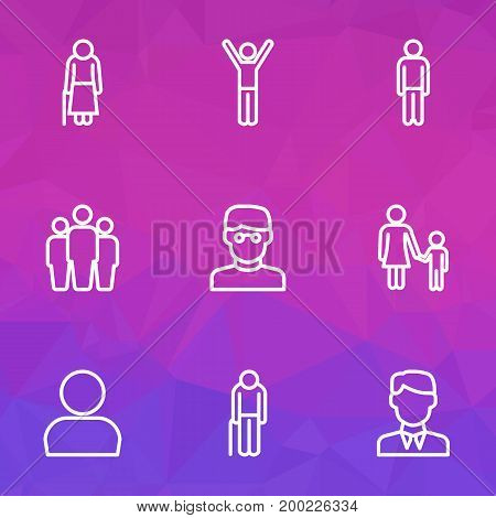 Person Outline Icons Set. Collection Of Profile, Smart Man, Graybeard And Other Elements