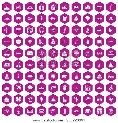 100 world icons set in violet hexagon isolated vector illustration