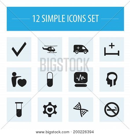 Set Of 12 Editable Care Icons. Includes Symbols Such As Heart, Human Love, Stop Smoke And More
