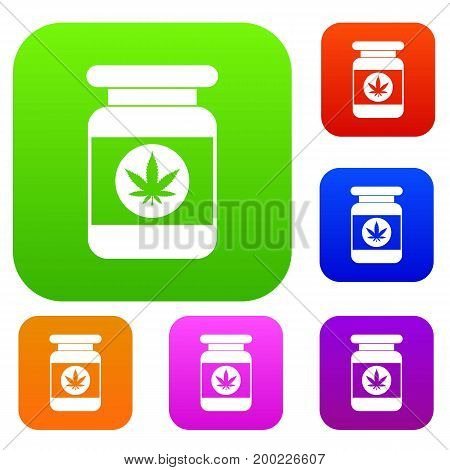 Jar of powder marijuana set icon in different colors isolated vector illustration. Premium collection