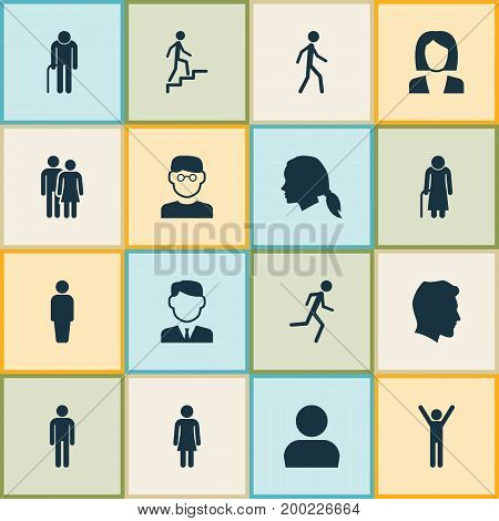 Human Icons Set. Collection Of Female, User, Gentlewoman Head And Other Elements