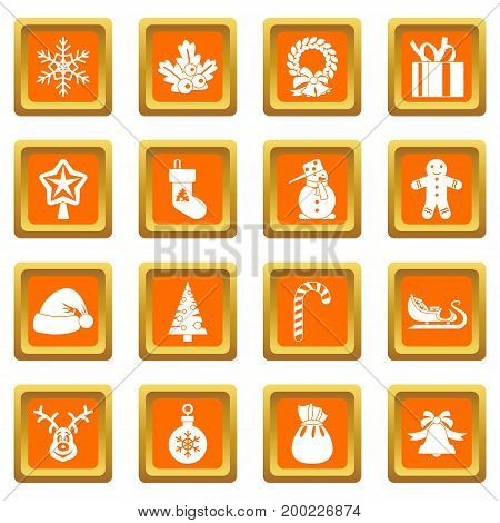 Christmas icons set in orange color isolated vector illustration for web and any design