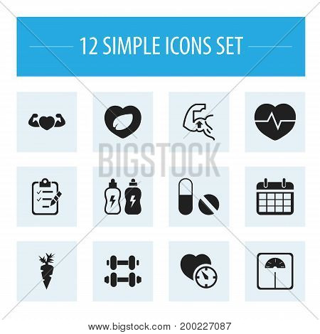 Set Of 12 Editable Training Icons. Includes Symbols Such As Strong Love, Date Plan, Leaf In Heart And More