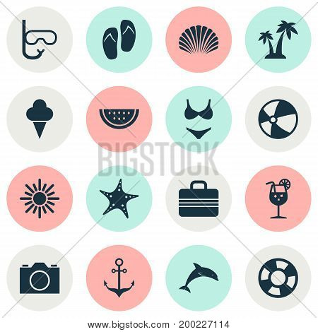 Summer Icons Set. Collection Of Trees, Sea Star, Sorbet And Other Elements