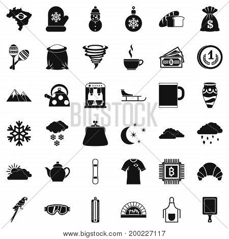 Cup of coffee icons set. Simple style of 36 cup of coffee vector icons for web isolated on white background