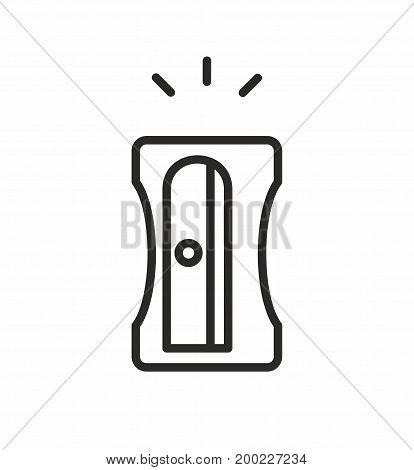Pencil sharpener line icon on white background. Vector illustration.