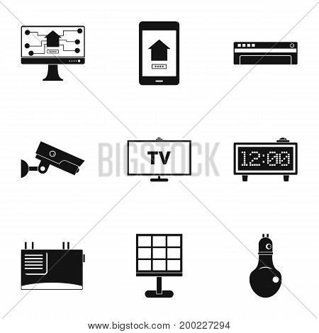 Automation technology icon set. Simple style set of 9 automation technology vector icons for web isolated on white background