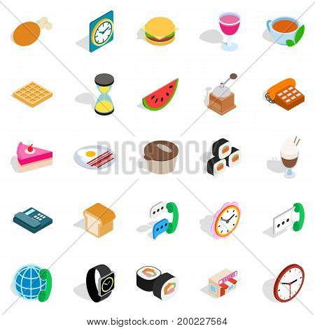 Culinary icons set. Isometric set of 25 culinary vector icons for web isolated on white background