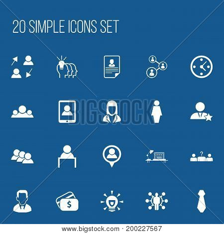 Set Of 20 Editable Job Icons. Includes Symbols Such As Cv, Job Woman, Clock And More