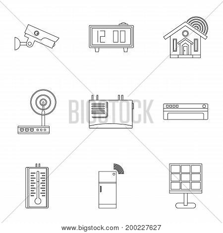 Smart home devices icon set. Outline style set of 9 smart home devices vector icons for web isolated on white background