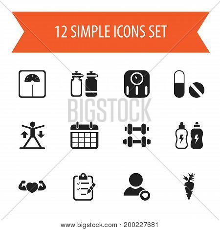 Set Of 12 Editable Exercise Icons. Includes Symbols Such As Questionnaire, Hand Barbell, Weight Measurement