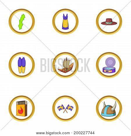Scandinavian country icons set. Cartoon illustration of 9 scandinavian country vector icons for web design