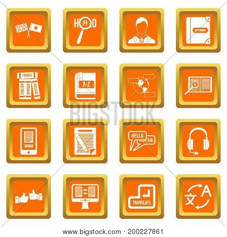 Learning foreign languages icons set in orange color isolated vector illustration for web and any design