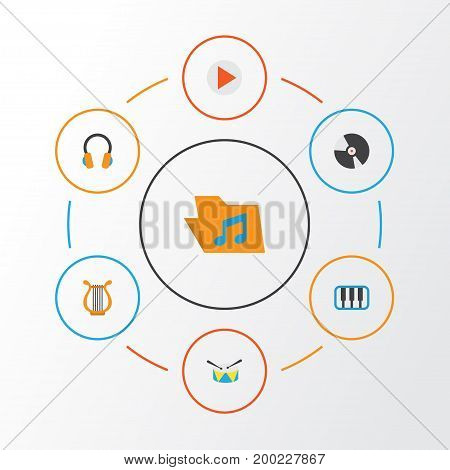 Music Flat Icons Set. Collection Of Band, Portfolio, Button Elements