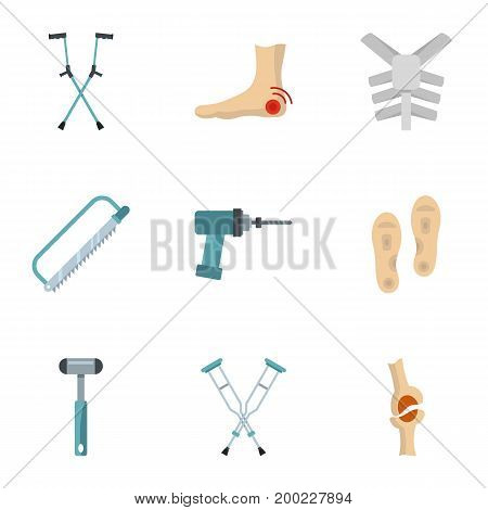 Orthopedic prosthetic icon set. Flat style set of 9 orthopedic prosthetic vector icons for web isolated on white background