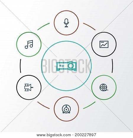 Media Outline Icons Set. Collection Of Karaoke, Chart, Filmstrip And Other Elements