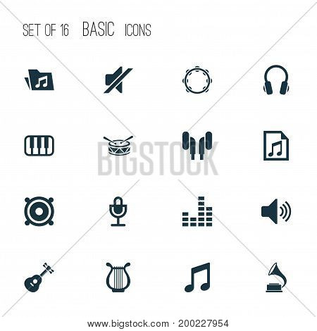 Multimedia Icons Set. Collection Of Barrel, Silence, Lyre And Other Elements