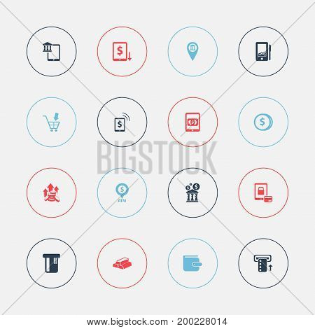 Set Of 16 Editable Banking Icons. Includes Symbols Such As Specie, E-Commerce, Automatic Teller Machine And More